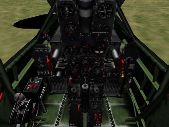 1. Альтиметр 2. Компас 3. Второй компас 4. Авиагоризонт 5. Указатель тяги двигателя 6. Указатель воздушной скорости 7...